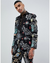 ASOS DESIGN Skinny Tuxedo Suit Jacket In Space Embroidery With Removable Sequin Parrot