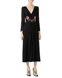 Gucci Embroidered Viscose Sabl Dress Black