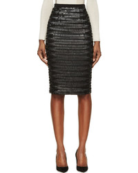 Burberry London Black Silk Sequin Embroidered Midi Skirt