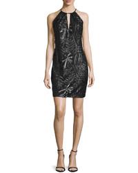 Carmen Marc Valvo Sleeveless Embroidered Sheath Cocktail Dress Black