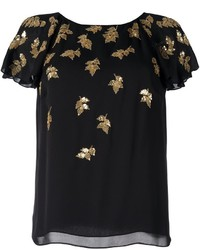 Oscar de la Renta Sequined Applique T Shirt