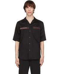 Alexander McQueen Black Gabardine Logo Short Sleeve Shirt