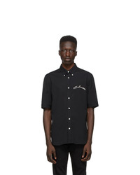 Alexander McQueen Black Poplin Short Sleeve Shirt