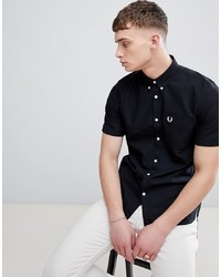 Fred Perry Classic Oxford Short Sleeve Shirt In Black