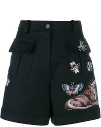 Valentino Embroidered A Line Wool Shorts