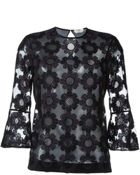 Fendi Floral Embroidered Tulle Blouse