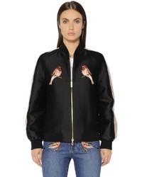 Stella McCartney Embroidered Cotton Silk Duchesse Bomber