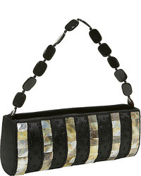Striped shell silk handbag medium 30015
