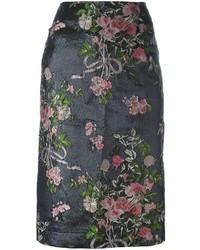 Lanvin Embroidered Flower Pencil Skirt