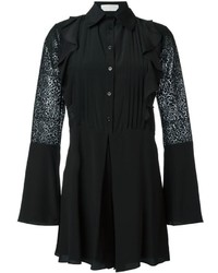 See by Chloe See By Chlo Embroidered Sheer Sleeve Playsuit