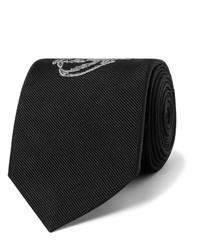 Alexander McQueen 7cm Embroidered Silk Twill Tie