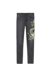 Gucci Dragon Embroidered Denim Skinny Jeans