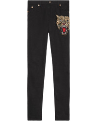 Gucci Angry Cat Embroidered Denim Pant