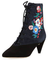 Cassidy embroidered lace up 45mm bootie blackbattleship bluepansy bouquet medium 4380735