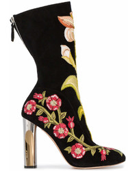 Alexander McQueen Medieval Embroidered Boots With Bicolour Sculpted Heel