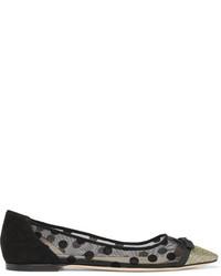 Jimmy Choo Dorothy Glittered Embroidered Mesh Point Toe Flats Black