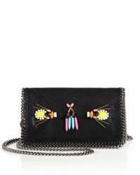 Stella McCartney Falabella Embroidered Faux Suede Chain Clutch