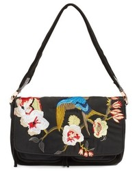 Elizabeth and James Willa Embroidered Suede Nylon Shoulder Bag Black