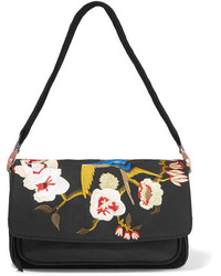 Elizabeth and James Willa Suede And Embroidered Shell Shoulder Bag Black