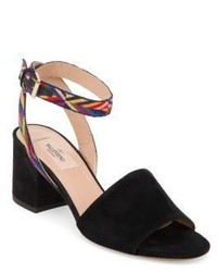 Valentino Native Embroidered Suede Block Heel Sandals