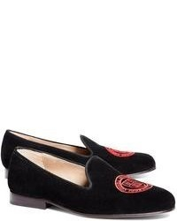 Black Embroidered Suede Loafers