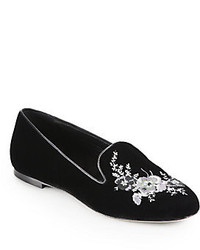 Christopher Kane Embroidered Velvet Smoking Slippers