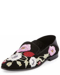Alexander McQueen Flower Embroidered Suede Loafer Blackmulti