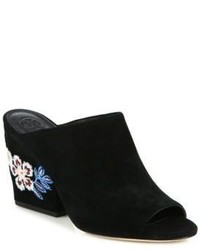 Tory Burch Embroidered Suede Wedge Mules