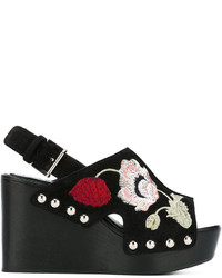 Alexander McQueen Embroidered Wedge Sandals