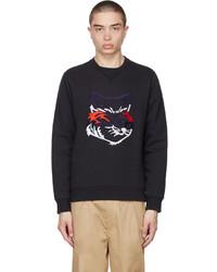 MAISON KITSUNÉ Black Big Fox Embroidery Sweatshirt