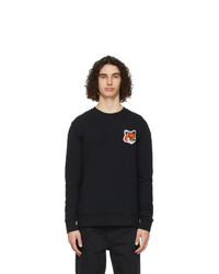 MAISON KITSUNÉ Black Velvet Fox Head Sweatshirt