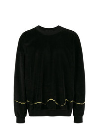 Haider Ackermann Clerck Black Velour Sweatshirt With Gold Detail