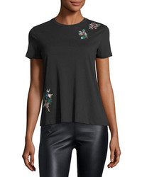 RED Valentino Redvalentino Cotton T Shirt W Embroidered Flower Patches