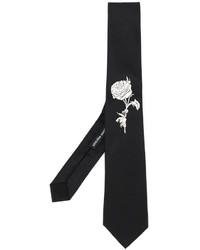 Alexander McQueen Rose Embroidered Tie