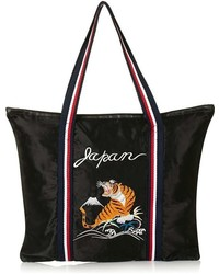 Topshop Embroidered Tiger Shopper Black