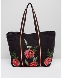 Boohoo Floral Embroidered Shopper