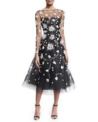Embroidered illusion tulle midi dress blackwhite medium 3640077