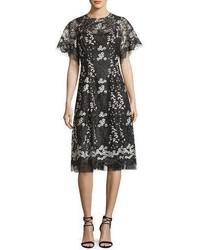 Rickie Freeman For Teri Jon Floral Embroidered Tulle Midi Cocktail Dress