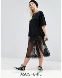 Petite petite sheer tulle midi skirt with badging medium 3640081