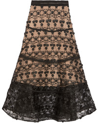 Black Embroidered Tulle Midi Skirt
