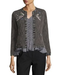 Rebecca Taylor Open Front Tweed Embroidered Jacket