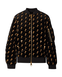 Chloé Embroidered Cotton Blend Velvet Bomber Jacket