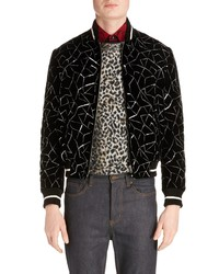 Saint Laurent Embroidered Velvet Varsity Jacket