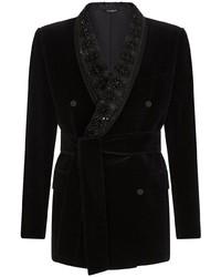 Dolce & Gabbana Belted Velvet Blazer Jacket