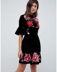 ASOS DESIGN Velvet Embroidered Skater Mini Dress