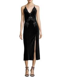 JONATHAN SIMKHAI Crinkled Velvet Applique Deep V Midi Dress Black