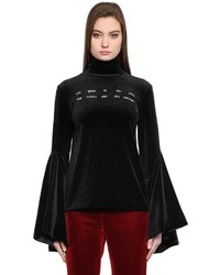 Embroidered velvet turtleneck top medium 4418485