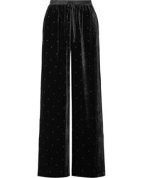 Ulla Johnson Maia Med Swiss Dot Velvet Wide Leg Pants