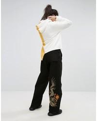 MHI Maharishi Wide Leg Snopants With Dragon Embroidery
