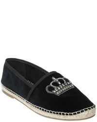 Dolce & Gabbana Crown Embellished Velvet Espadrilles